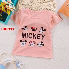 GHFTTY High Quality Kids New Cartoon Print T-Shirts Cotton Boy Girls Tee Tops Clothing For Kids 18M-4 Years 2017 Hot sale