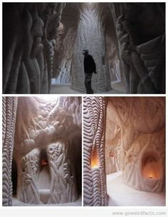"Ra Paulette carved sandstone caves in New Mexico by hand.  A documentary called ""Cavedigger"" has been made about him.  If you search his names you can see all the beautiful carvings  and 'rooms' he has made"