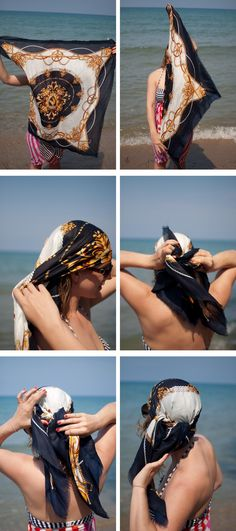 Ideas for how to wear scarves in hair head wraps scarf tutorial Rockabilly Stil, Head Scarf Styles, Hair Romance, Hippie Look, Twist Headband, Scarf Hairstyles, Beach Hairstyles, Wedding Hairstyles, Men's Hairstyle