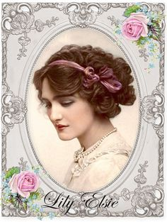 vintage woman Lily Elsie Digital collage p1022 Free to use