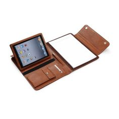 Brown Leather Padfolio Case With Multiangle Viewing for iPad Air 2 / iPad Air plus MacBook Air - http://www.specialdaysgift.com/brown-leather-padfolio-case-with-multiangle-viewing-for-ipad-air-2-ipad-air-plus-macbook-air/