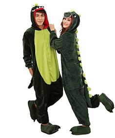 da560bcd07 Amazon.com  Aoibox Unisex Adult Pink and Dinosaur Animal Cosplay Onesie  Pajamas Size S GreenDinosaur  Clothing