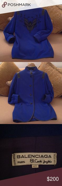 🍃🌹 'Balenciaga' Paris - El Corte Ingles Coat🍃 A Authentic Vintage Coat by Balenciaga Paris. European 40.  Royal Blue with Black Leather Trim and a Gorgeous Black Tulip Design on the back.  Very clean lining including the under arms. See All pictures and ask questions if necessary. This coat is in Excellent condition and Is a New coat but have no tags attached.🍃 Balenciaga Jackets & Coats