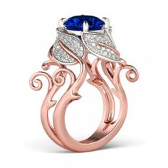 Baroque Style Cirrus Solid Crown Rose Gold 2-tone Round Cut Sapphire Rhodium Plating Sterling Silver Engagement Ring / Cocktail Ring