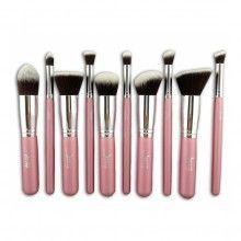 Jessup sada 10 štetcov - Kabuki Set Pink-Sivler T068 Kabuki Brush Set, Pink, Pink Hair