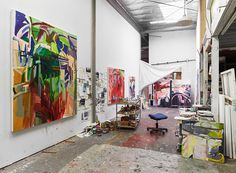 Art studio of painter Sara Awad - wow... Id love to work in that space! TAB