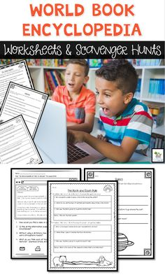 Teach your students how to use the World Book Online Encyclopedia with these worksheets and scavenger hunts. Perfect for upper elementary.