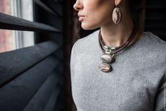 """Купить Комплект """"Странствия"""" - коричневый, пейзажная яшма, украшения из кожи, украшения с камнями, натуральные камни"""