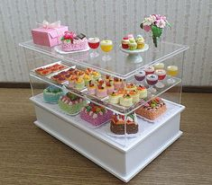 Dollhouse Miniature Bakery Set / Display Cabinet by BEADSPAGE