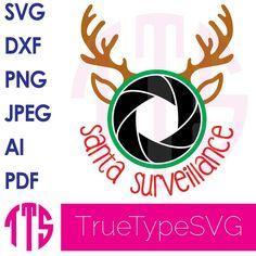 Santa Cam Surveillance SVG with Reindeer Antlers Print and Cut