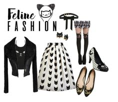"""Feline Fashion"" by lilyboutique on Polyvore featuring T.U.K., Kate Spade, Cara, Betsey Johnson, blackandwhite, catstyle and LilyBoutique"
