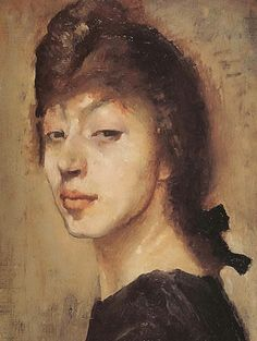 """""""Self-Portrait"""" - Marie Laurencin (French, 1883–1956), oil on canvas, c.1905 {cubist artist female head woman face painting #arthistory #nineteenthcentury #loveart}"""