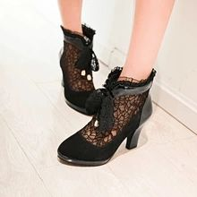 New spring and autumn fashion ankle boots handsome cowboy wild sexy high heels size 34-39 shoes Grind arenaceous mesh shoes(China (Mainland))
