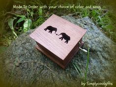 music box, elephants music box, elephants, wooden music box, custom music box, personalized music box, simplycoolgifts, music box shop