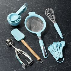 kitchenaid 13 piece prep set in aqua sky from crate and barrel