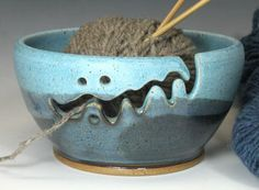 Bridges Pottery Yarn Bowl Knitting Bowl Turquoise and Blue Showcased by Vogue KNitting CUSTOM ORDER