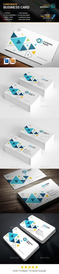 Triangle Business Card Template PSD, Vector EPS. Download here: https://graphicriver.net/item/triangle-business-card/17537806?ref=ksioks