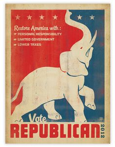 Political Posters from Anderson Design Group, vote, election, 2012 election, president, presidential election, republican, elephant, election poster, poster, political poster, politics,