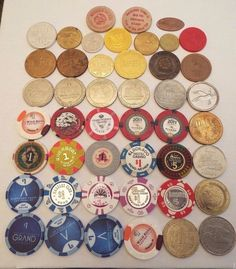 LOT OF 46 CASINO TOKENS, CASINO CHIPS , Souvenir Tokens, Wooden Nickels and more
