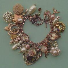 junk jewelry | SWEET-ROMANCE-Vintage-New-Junk-Jewelry-charm-bracelet-Betsey-Johnson ...