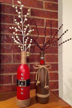 DIY Weihnachtsdeko Bastelideen mit Weinflaschen, Rentier Deko basteln mit Kindern Check more at http://diydekoideen.com/diy-weihnachtsdeko-bastelideen-mit-weinflaschen/