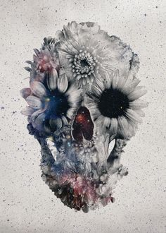 """""""Floral Skull 2"""" Graphic/Illustration by Ali GULEC buy now as poster, art print and greeting card.."""