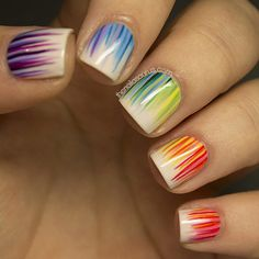 Bright Colored Nail Art | Paint Stripe Manicure | Rainbow Colors | Nail Polish