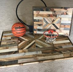 This is a completely one of a kind piece. It is gorgeous with having a brick style pattern on the backboard and a geometric style pattern as the square. It is definitely a statement piece, while also being a playful one. It is made with pine stained different colors to give it a rustic reclaimed wood look. The colors are quite exquisite together. No two pieces are the same, making this piece completely one of kind. I carefully choose the wood and thoughtfully choose which colors to stain…