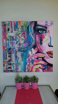 Opdracht. 'Zusjes', © 2014, 100x100cm, acryl en mixed media op linnen.