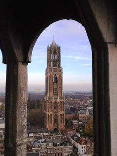 Cathedral Tower of Utrecht, Netherlands Amsterdam, Utrecht, Beautiful Buildings, Beautiful Places, Kingdom Of The Netherlands, Holland Netherlands, South Holland, Leiden, Dutch