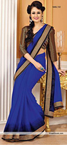Royal Blue  Golden Faux Chiffon Raw Silk Saree