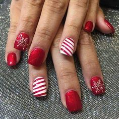 Striped Red And White Nails With Christmas Snowflake