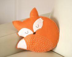 fox pillow felt/ decoration / ornament / stuffed animal/ woodland nursery/ baby room decor/ woodland nursery/ animal pillow felt fox pillow - hand made/ hand sewn/ fox cushion/ baby room decor/ woodland nursery/ home decor/ animal pillow/ kids . Kids Pillows, Animal Pillows, Owl Pillows, Burlap Pillows, Baby Girl Nursery Bedding, Fox Nursery, Animal Nursery, Crib Bedding, Fox Pillow