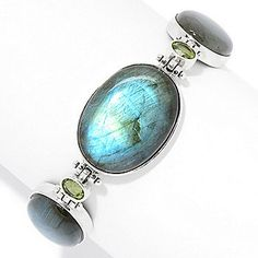 Gem Insider® Sterling Silver Labradorite & Peridot Adjustable Toggle Bracelet
