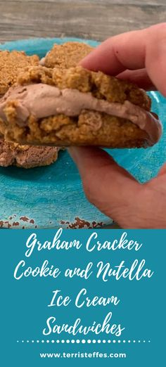 """Delicious cookies made from graham cracker crumbs are the """"bread"""" for these ice cream sandwiches. Delicious, but especially with Nutella ice cream!"""