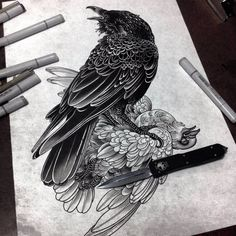 The Grim Tattoos of Alexander Grim Alexander Grim, Black Bird Tattoo, Black Tattoos, Kunst Tattoos, Body Art Tattoos, Hand Tattoos, Sleeve Tattoos, Tattoo Sketches, Art Sketches