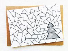 Kerstkaart kerstboom, Kerstkaarten, Gelukkig nieuwjaar kaarten, Geometrisch ontwerp, Geometrische kerst, Grafische kerst, Zwart wit kerst