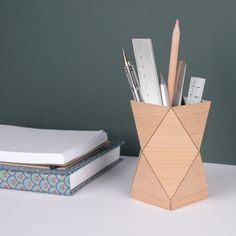 Wooden pencil pots make great stylish gifts and will bring calm and order to your desk.