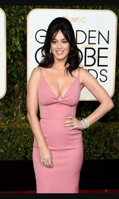 Katy perry pink gown golden globe 2016