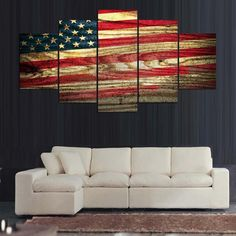Large Framed American Flag Wood Look Canvas