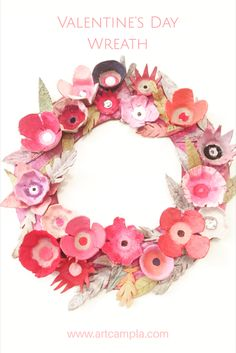 Valentines Day Wreath made from egg cartons