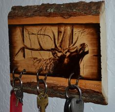 Woodburned Bull Elk Key Holder Rack for Cabin or Country Home on Etsy, $49.00