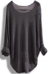 Chic Scoop Neck Asymmetrical Long Sleeve Sweater For Women (DEEP GRAY,M) | Sammydress.com Mobile