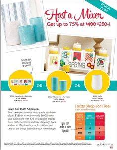 March makes it easier to earn HOST SPECIALS!! During the month of March, just a $250 party will give you the option of purchasing your choice of these three host specials, for 75% off the regular price!  PLUS, you get a bunch of free products, AND items at 50% off!  SO easy!  Contact me for details!  www.marlamcfall.mygc.com