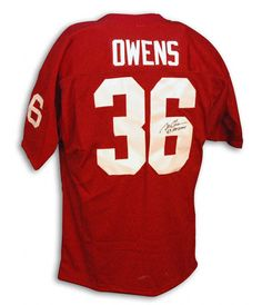 Steve Owens Oklahoma Sooners Autographed Red Throwback Ou Jersey With    heisman  69  551ffdd08
