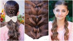 This Mermaid Heart braid hairstyle is gorgeous, it's perfect for Valentine's day . This style combines three little elastic heartlets with a Mermaid Braid Valentine's Day Hairstyles, Super Cute Hairstyles, 5 Minute Hairstyles, Cute Girls Hairstyles, Princess Hairstyles, Braided Hairstyles, Hairstyle Ideas, Simple Hairstyles, Heart Braid