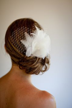 Vintage elegant white bridal hair accessory - wedding photo by Catherine Hall Studios