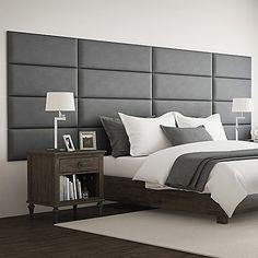 Vant 138 X 46 Micro Suede Upholstered Headboard Panels In Grey Bed Headboard Design, Bedroom Bed Design, Bedroom Furniture Design, Headboards For Beds, Bed Furniture, Home Decor Bedroom, Modern Bedroom, Bedroom Wall, Modern Headboard
