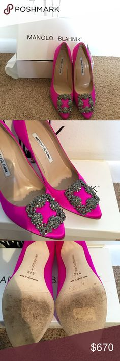 Signature pumps in Mangeta Worn. Comes with box. Comes from family that owns dogs. Smoke free home. Like new. Just worn soles. Manolo Blahnik Shoes Heels