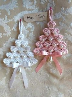 Best 12 Crochet tree, for Christmas decorations, set of 6 tree decorations, wonderful for your Christmas tree. If you want they can be - Her Crochet Crochet Christmas Decorations, Crochet Christmas Ornaments, Christmas Crochet Patterns, Holiday Crochet, Crochet Snowflakes, Christmas Crafts, Tree Decorations, Crochet Snowflake Pattern, Christmas Angels